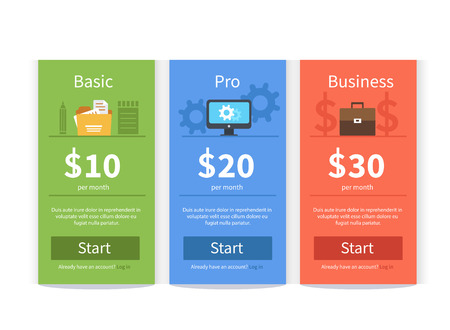 professional: Vector Pricing table template in flat style. Design element for website. Illustration