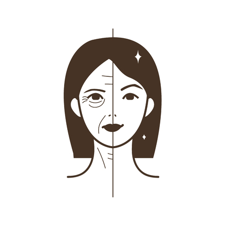 wrinkled face: Half old half young woman. Woman face before and after facelift. Vector illustration.