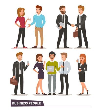 Business characters collection. Talking colleagues, business handshake, teamwork, business people with gadgets. Vector illustrations.