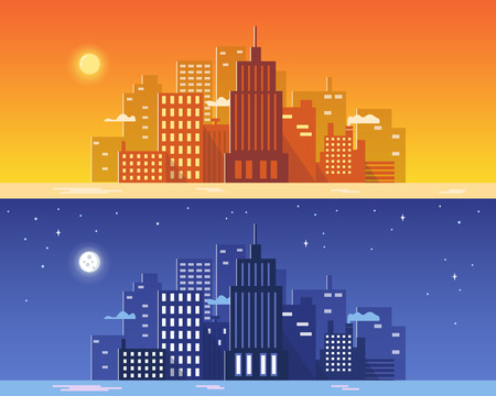 city at night: Day and night city concept. Vector illustration. Illustration