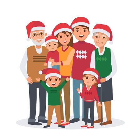 Big family vector illustration. Big family celebrates Christmas. Family portrait isolated  on white background. Illustration