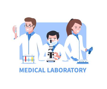 biologia: Laboratorio médico vector concepto de ilustración. científicos de química en laboratorio.