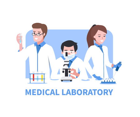 scientist man: Medical laboratory vector concept illustration. Chemistry scientists in laboratory.