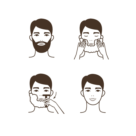 El hombre se afeita la barba. Ilustración del vector. Foto de archivo - 63810338