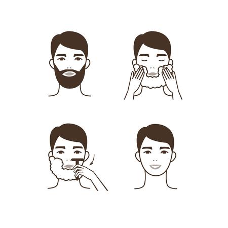 Man shave his beard. Vector illustration. Vettoriali
