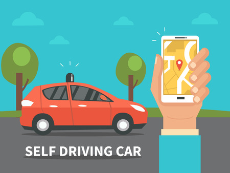 Zelf rijdende auto concept. Vector illustratie.