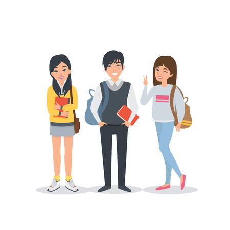 university students: Young asian student characters collection. Students Lifestyle. Vector students illustration.