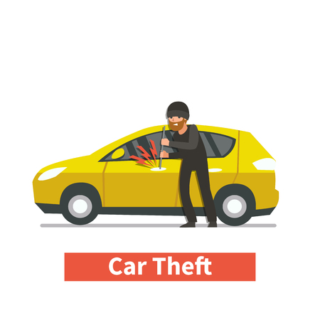 Thief steals car. Vector illustration.