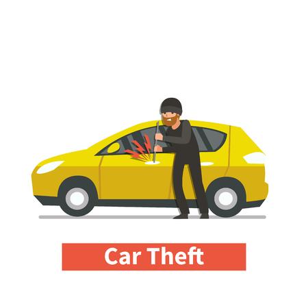 villain: Thief steals car. Vector illustration.