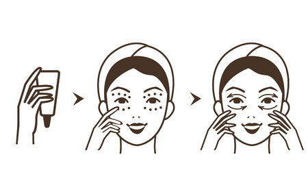 Steps how to apply eye cream. Vector isolated illustrations set.