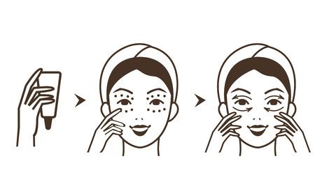 Stappen hoe oogcrème toe te passen. geïsoleerd Vector illustraties set.