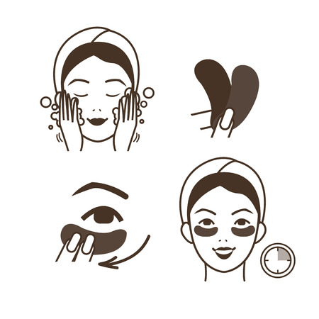 facial care: Steps how to apply eye patches. Vector isolated illustrations set.