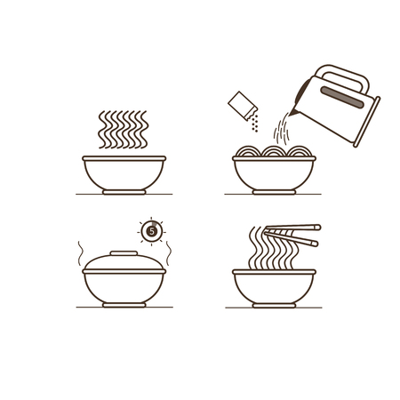 instruction: Instruction how to prepare instant noodles. Vector illustration.