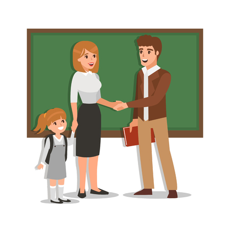acquaintance: Parent meeting with teacher in classroom. Illustration