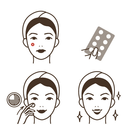 Girl take care of her face. Pimple patch procedure. Vector illustration.  イラスト・ベクター素材