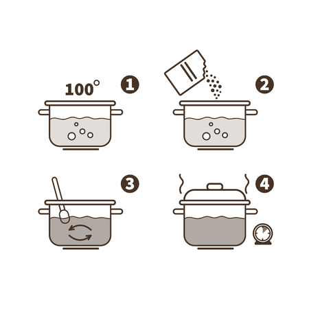 Steps how to cook porridge. Vector illustration.