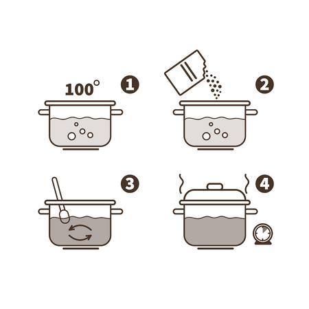 Steps how to cook porridge. Vector illustration.