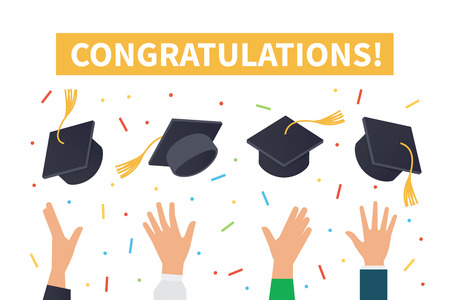 accomplish: Graduation ceremony concept. Vector illustration. Illustration