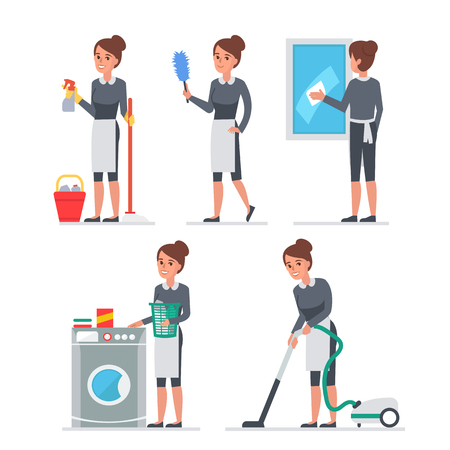 gospodarstwo domowe: Pokojówka na llustration pracy. Ludzie Infographic elementów. Ilustracja