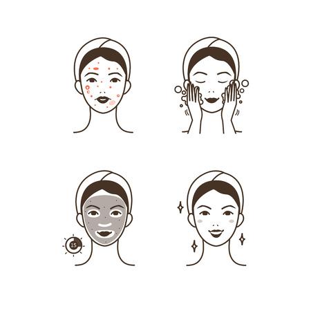 istruzione: Passi come applicare la maschera facciale per curare l'acne. illustrazioni isolate impostate.