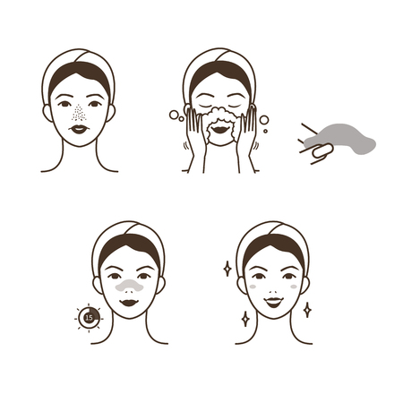 Girl take care of her face. Blackheads treatment procedure with blackhead patch. Ilustrace
