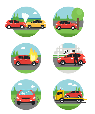 breaking law: Different car accidents. Types of Insurance cases.