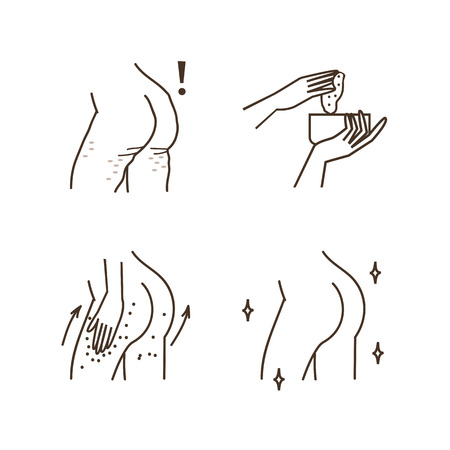 exfoliation: Steps how to apply anti cellulite exfoliating cream. Illustration