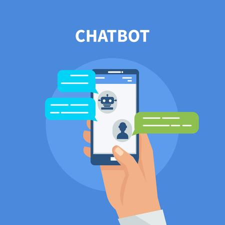 Chatbot concept. Gebruiker chatten met chatbot in mobiele applicatie. Stockfoto - 67966510