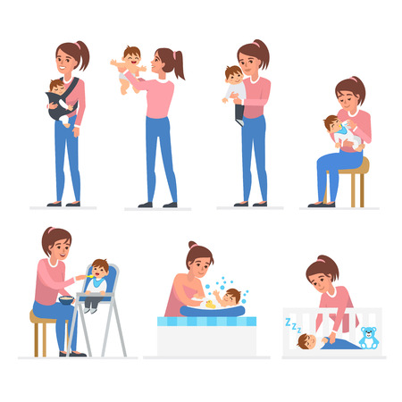 Mother and baby illustration collection. Baby feeding, playing, bathing, sleeping. Stock Illustratie