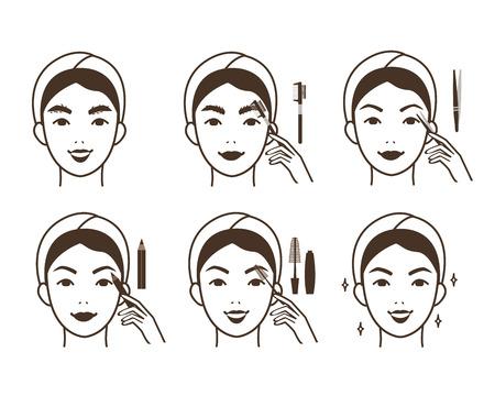 Steps how to make eyebrow correction.