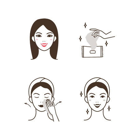 pulizia viso: Donna rimozione make up con un tovagliolo di pulizia del viso.