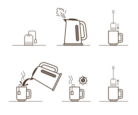 Tea bag brewing cooking directions. Steps how to cooking tea.  イラスト・ベクター素材