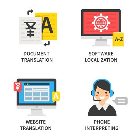 翻訳サービスのコンセプトです。ドキュメントの翻訳, ソフトウェア ローカライゼーション, ウェブサイト翻訳、通訳電話。  イラスト・ベクター素材