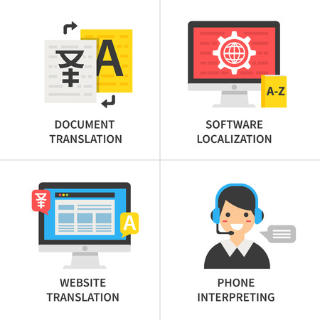 Translation service concept. Document translation, software localization, website translation, phone interpreting. 일러스트