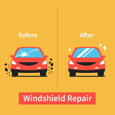 Car windshield replacement concept. Car window before and after repair.