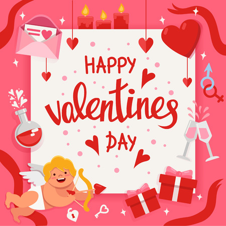 Valentine day poster with handwritten lettering and colorful flat elements. Ilustrace