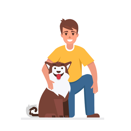 Happy man with his dog. Vector illustration. Ilustrace