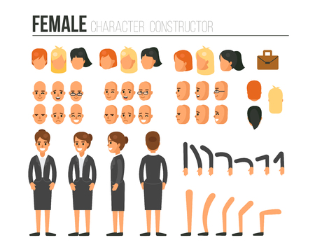 side view: Female character constructor for different poses. Set of various womens faces, hairstyles, hands, legs. Vector illustration.