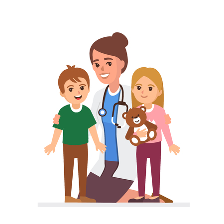 Pediatrician with patients. Woman doctor with kids. Vector illustration.