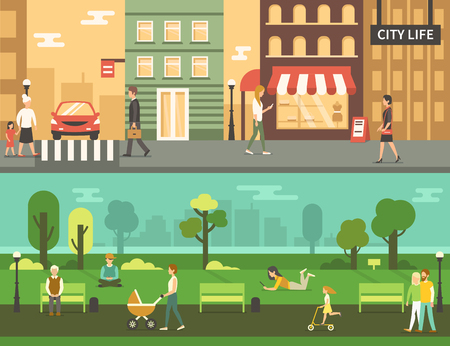 People in urban park and city street. Vector concept illustration. Infographic elements.