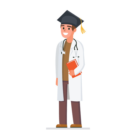 Doctor wearing academic cap. Medical education concept. Vector medicine illustration Ilustrace