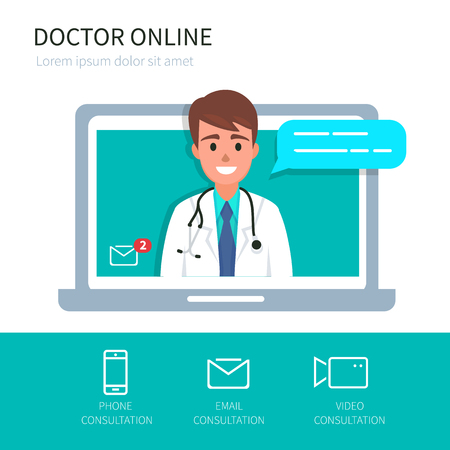 Doctor online concept with icons set. Vector illustration.