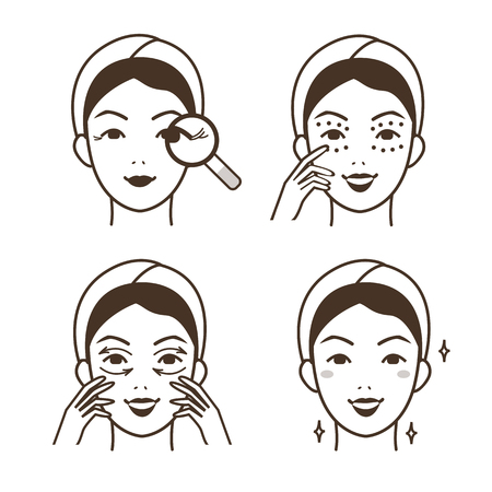 Steps how to apply anti-aging eye cream. Vector isolated illustrations set. Ilustrace