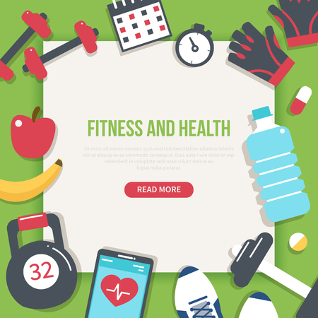 Fitness and health banner. Modern flat vector icons. Ilustrace