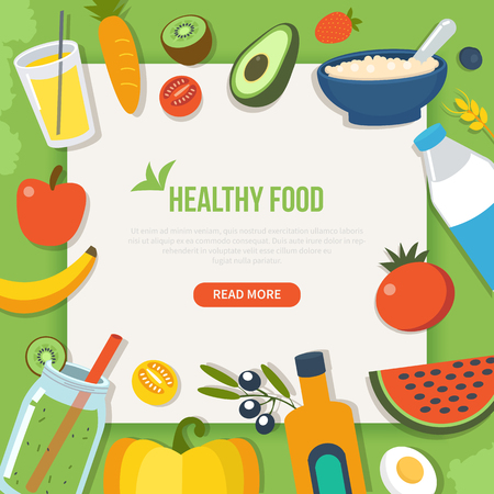 Healthy food and diet concept banner with text place. Vector illustration.