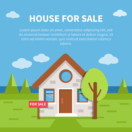 House for sale banner with text place. Vector illustration. Ilustrace