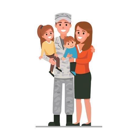 Militärischer Mann mit seiner Familie. Vektor-Illustration. Standard-Bild - 72407005
