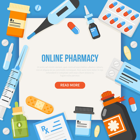 Online Pharmacy concept banner with text place. Vector medical illustration.