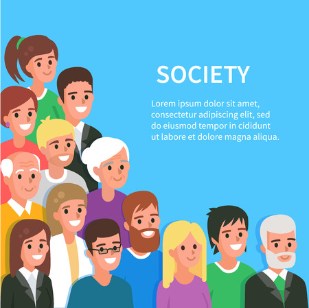Society conceptual banner with people avatars. Vector illustration. Ilustrace