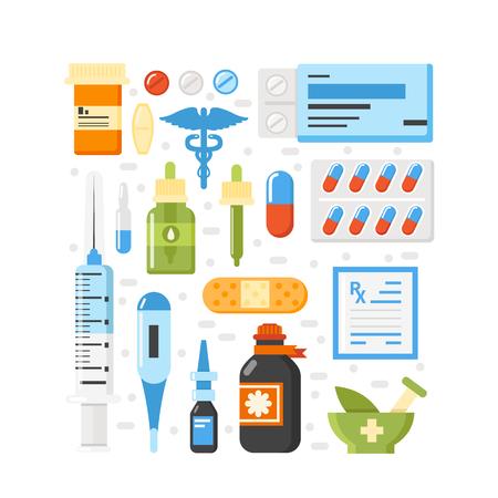 Pharma icons set isolated medical illustration.